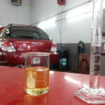 25ml of brake fluid getting ready to meet 5ml of water. Click on image for a better veiw