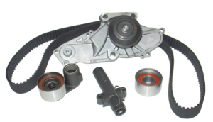 When replacing the timing belt in conjunction with a water pump it is best to install what is called a component kit. With the kit you receive a new water pump, timing belt, tensioner & guide pulleys and a new hydraulic tensioner. It's part of doing the job right the first time.