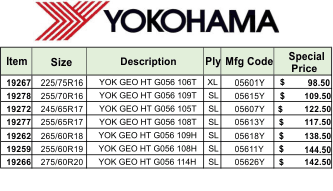 YOKOHAMA MARCH TIRE SALE